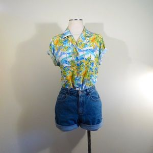 Vintage Jams World Tropical Vacation Button Up Top